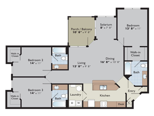Floor plans and pricing arden place for Three bedroom flat floor plan