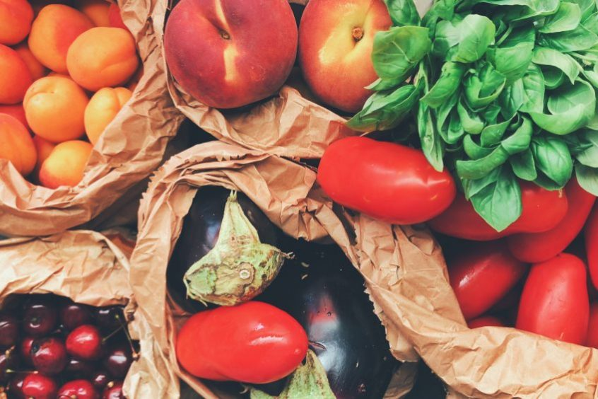 fresh produce in paper bags