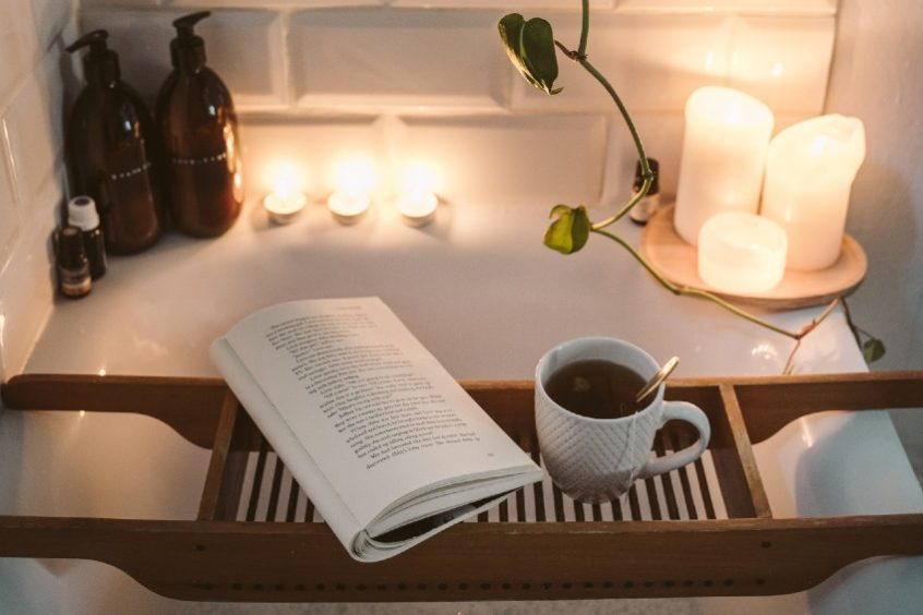 bubble bath with book and tea